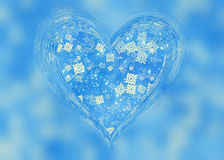 Glass frame of heart shape with winter snow Royalty Free Stock Image