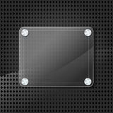 Glass frame on metallic background Royalty Free Stock Images