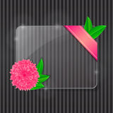 Glass Frame with Pink Flower and Green Leaves. With Copy Space on Black Stripe Background. Abstract background. Illustration Stock Photography