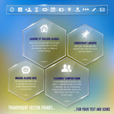 Glass frames with simple icons - infographics temp Stock Photography