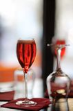 Glass with French alcohol drink Kir Royal Stock Photo