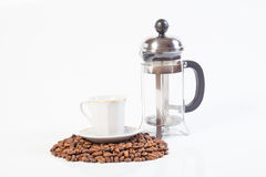 Glass french press and cup Royalty Free Stock Image