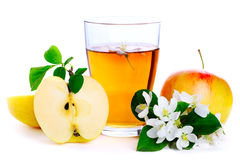 Glass of fresh apple juice Stock Images