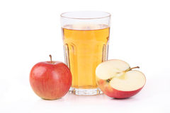 Glass of fresh apple juice. Glass of apple juice on white background Stock Image