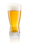 Glass of fresh beer with cap of foam isolated. On white background Stock Photography