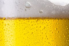 Close up of beer. A glass of fresh beer with froth and dew drops. ideal for websites and magazines layouts Royalty Free Stock Photos