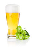 Glass of fresh beer with Green hops  Royalty Free Stock Photos