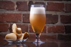 Glass of Fresh Beer and plate with chips Royalty Free Stock Images