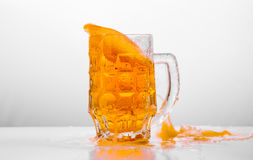Glass of fresh beer on white background Royalty Free Stock Image