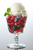 Glass of fresh berries with ice cream royalty free stock photography