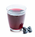 Glass of fresh blueberry juice with blueberries Stock Photo