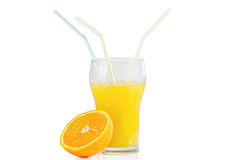 Glass of fresh citrus juice with three straws and orange isolated on white background Stock Photography