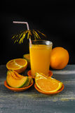 Glass with fresh cold pressed melon-orange juice and fresh fruit Royalty Free Stock Photos