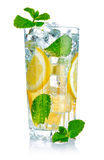 Glass of fresh cool water with lemon royalty free stock images