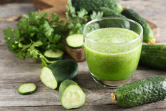 Glass of fresh cucumber juice Royalty Free Stock Image