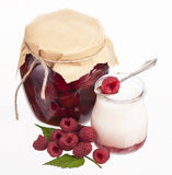 Glass of fresh delicious yogurt with berry fruits Royalty Free Stock Photo
