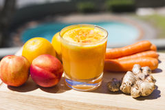 Glass of fresh fruit and vegetable juice Royalty Free Stock Images