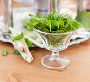 Glass with fresh green mint for drinks Royalty Free Stock Photography