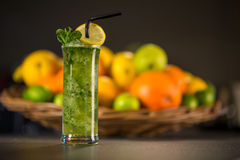 Glass of fresh green smoothie made from mint Royalty Free Stock Photo