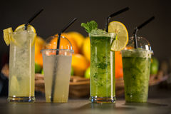 Glass of fresh green smoothie made from mint Royalty Free Stock Images