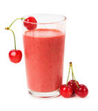 Glass of fresh juice with berries cherry on a white background Royalty Free Stock Photography