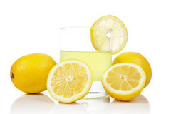 Glass of fresh lemon juice Royalty Free Stock Images