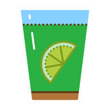 Glass with fresh lemon and water vector illustration