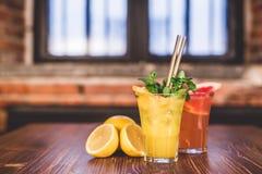 Glass of fresh lemonade. Stock Photos