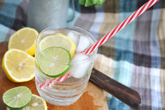 Glass of fresh lime and lemon drink Royalty Free Stock Photo