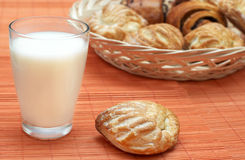 Glass with fresh milk and puff pastry Royalty Free Stock Photos