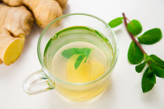 Glass of fresh mint and ginger tea Royalty Free Stock Photography