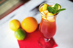 Glass of fresh nonalcoholic cocktail with lime Royalty Free Stock Images