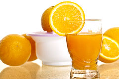 Glass of fresh orange juice Stock Photos