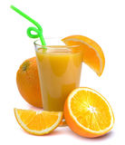 Glass of fresh orange juice and fruits. Full glass of fresh orange juice and fruits near it. Isolated on a white Royalty Free Stock Images