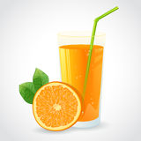 A glass of orange juice and half of ripe orange is Stock Image