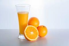 Glass of fresh orange juice and orange fruit Stock Photo