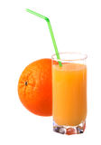 Glass of fresh orange juice with ripe orange Royalty Free Stock Photo