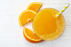 Glass of fresh orange juice. From top view Stock Images