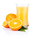 Glass of fresh orange juice  on a white Stock Images