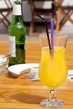 Glass with fresh orange juice Stock Photo