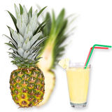 Glass of fresh pineapple milkshake Royalty Free Stock Photos