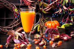 Glass of fresh pumpkin or carrot juice decorated for Halloween stock photos