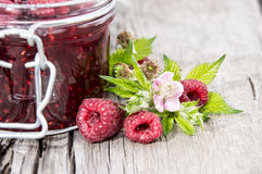 Glass with fresh Raspberry Jam. Glass with fresh homemade Raspberry Jam Stock Images