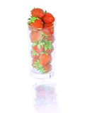 Glass with fresh strawberries  on white. Isolated Royalty Free Stock Photos