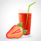A glass of strawberry juice and half berry isolate Royalty Free Stock Photos