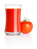 Glass of tomato juice and tomatoes with water Stock Photos