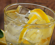 Glass of fresh water with a fresh  lemon. Royalty Free Stock Photo