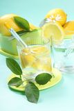 Glass of fresh water with lemon Stock Images