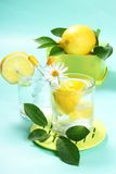 Glass of fresh water with lemon Stock Photography