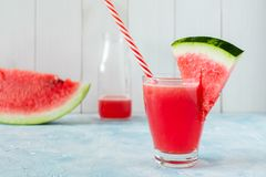 A glass of fresh watermelon juice royalty free stock photography
